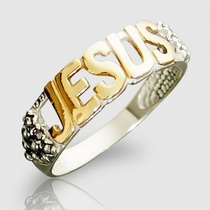 Anel Jesus Prata 925 + Banho De Ouro 18k Masculino/ Feminino