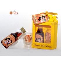 20 Kits Mini Vinho Ou Mini Cachaça Com Taça, Caixinha, Arte
