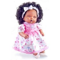 Boneca Angelina Negra 62 Frases - Milk Brinquedos