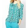 Blusa Camisa Feminina Chifon Estampa Leãozinho Animal Print