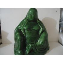 Escultura Buda Em Porcelana Verde Para Colecionador Lindoo##