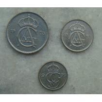 Suécia 50,25,10, Ore Sverige - 3 Moedas 1973,64,79 Niquel