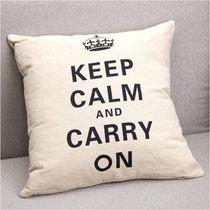 Almofada Keep Calm And Carry On 41x41cm Sem Enchimento