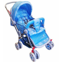 Carrinho Bebê Tipo Berço 3 Posições Reversível Azul Bola