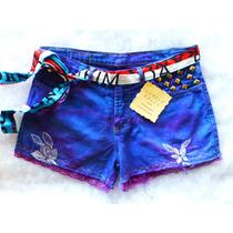 Short Jeans Customizado 40 Cintura Alta Rendas Frete Grátis
