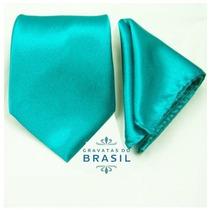 Gravatas Tradicional Azul Tiffany + Lenço Para Casamento