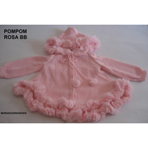 Casaco Blusa De Bebe Tricô Lã Pompom Esquimó Criança