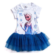 Vestido Elsa Frozen Bailarina Com Tule Azul - Envio Imediato