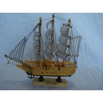 Barco Caravela Veleiro Madeira Tecido Decorativa Presente