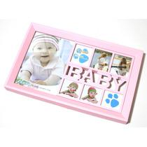 Painel Porta Retrato De Parede 7 Fotos Baby 3 Cores 7208