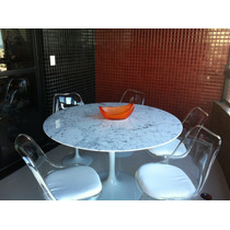 Conjunto Saarinen:mesa Red 1.30m Carrara +5 Cadeira S/ Braço