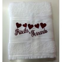 Toalha De Rosto Bordada Personalizada Com O Nome Do Casal