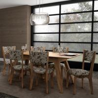 Jogo Sala De Jantar Mesa Retrô Com 6 Cadeiras 100% Mdf