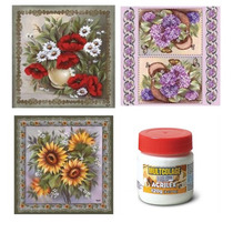 Kit C/ 15 Guardanapos Decoupage Flores + Cola 120gr Acrilex