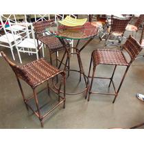 Conjunto De Mesa Bistrô Com 4 Cadeiras Junco Varanda Rattan