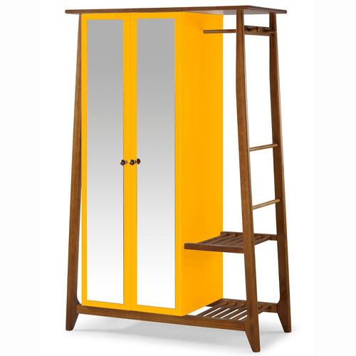 Armário Multiuso 2 Portas Stoka Maxima Nogal / amarelo