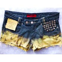 Short Jeans 38 Bicolor Barra Rasgada Cintura Baixa