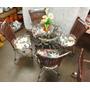 Conjunto De Mesa Circular E 4 Cadeiras Alumínio Rattan Junco