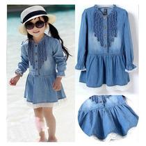 Vestido Infantil Menina Jeans Algodão C/renda Pronta Entrega