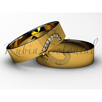 Aliança Cara Metade Ouro 18k Diamantes, Joias, Casamento
