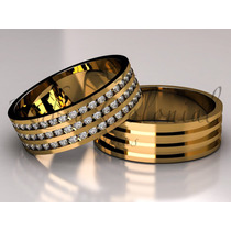 Alianças De Casamento- Ouro 18k - Diamantes Luxo