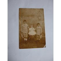 Bilhete Postal Foto Antiga Três Crianças - 1909 Ou 1910