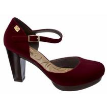 Sapato Salto Alto Feminino Boneca Flocado (camurça) Promoção