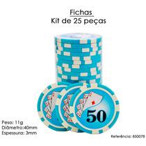 Fichas De Poker Kit De 25 Peças Cerâmica