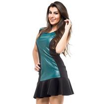 Vestido Divina Gata Verde/preto Couro Trabalhado Babado
