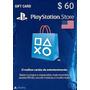 Playstation Network Cartão Psn $60 Dólares Usa Imediato!!