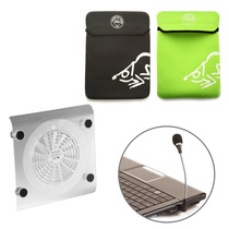 Kit Suporte Notebook Cooler + Microfone + Capa Neoprene 15