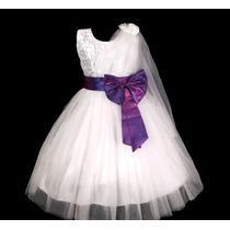 Vestido Infantil Festa/ Princesa/dama/florista Laço Cores