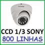 Camera Dome Infravermelho Ccd Sony 1/3 600 Linhas + Fonte 1a