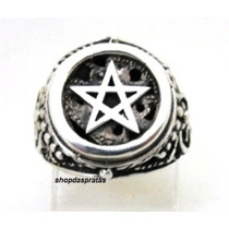 Anel Em Prata Estrela De Cinco Pontas Pentagrama - Ma2055