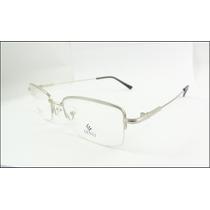 Armação Oculos Grau Titanium Prata Meio Aro Multifocal A620
