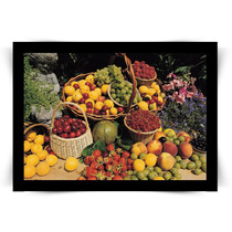 Pôster Com Moldura Preta Jardim Com Frutas Médio