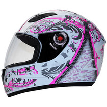 Capacete Mixs Fokker Decall Branco Com Rosa