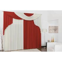 Cortina Elegance Vermelho E Palha 3,00 X 2,80 Quarto Ou Sala