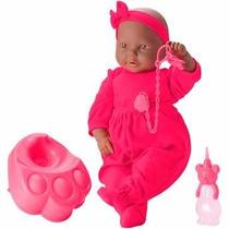 Boneca Bebe Mania Xixi Negra - Roma Ref. 5341