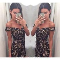 Vestido Renda Ombro A Ombro Com Fundo Nude Moda Blogueira