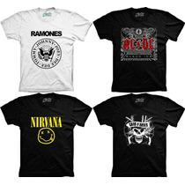 Camiseta Banda De Rock Ramones Nirvana Ac/dc Guns N Roses