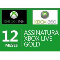 Xbox Live Gold 12 Meses Br/usa-xbox 360/one-envio Imediato!