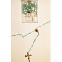 Terço Rosário De Cristais Fabricado Jerusalém Azul Celeste