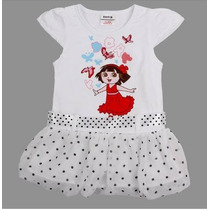 Vestido Infantil Dora Algodão Com Cetim Meninas Princesas