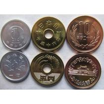 Set 03 Moeda Do Japão 1+5+10 Yen Todas Fc