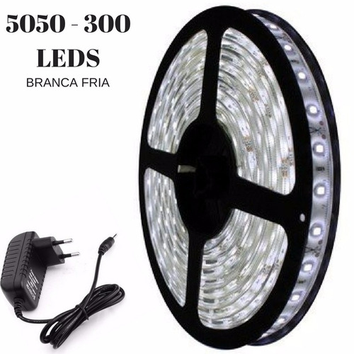 Fita Super Led 5050 5mt Luz Branco Frio 300 Leds 12v: Fita Led 5050 Branco Frio 300 Leds 5 Metros Super Luz
