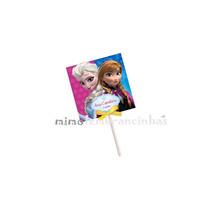 20 Capa Pirulito 5x5cm Personalizado - Tema Frozen