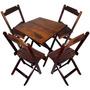 Conjunto De Mesa E 04 Cadeira Dobrável De Madeira Devassa