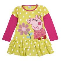 Pronta Entrega Peppa Pig Vestido Amarelo De Bolinhas