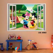 Adesivo Parede 3d Janela Decorativo Mickey Minie (cod.win63)